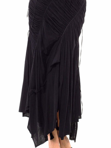 1980S Issey Miyake Black Cotton Jersey Ruched Gown With Braided Straps
