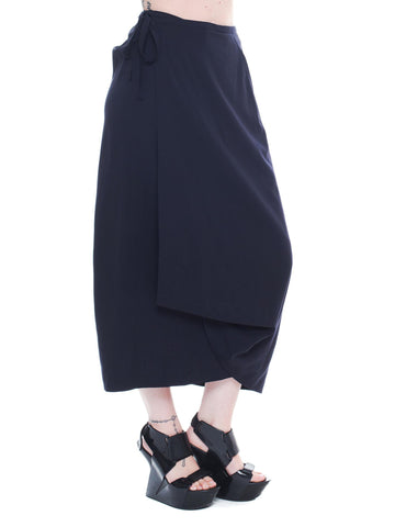 Comme Des Garcons Navy Draped Skirt