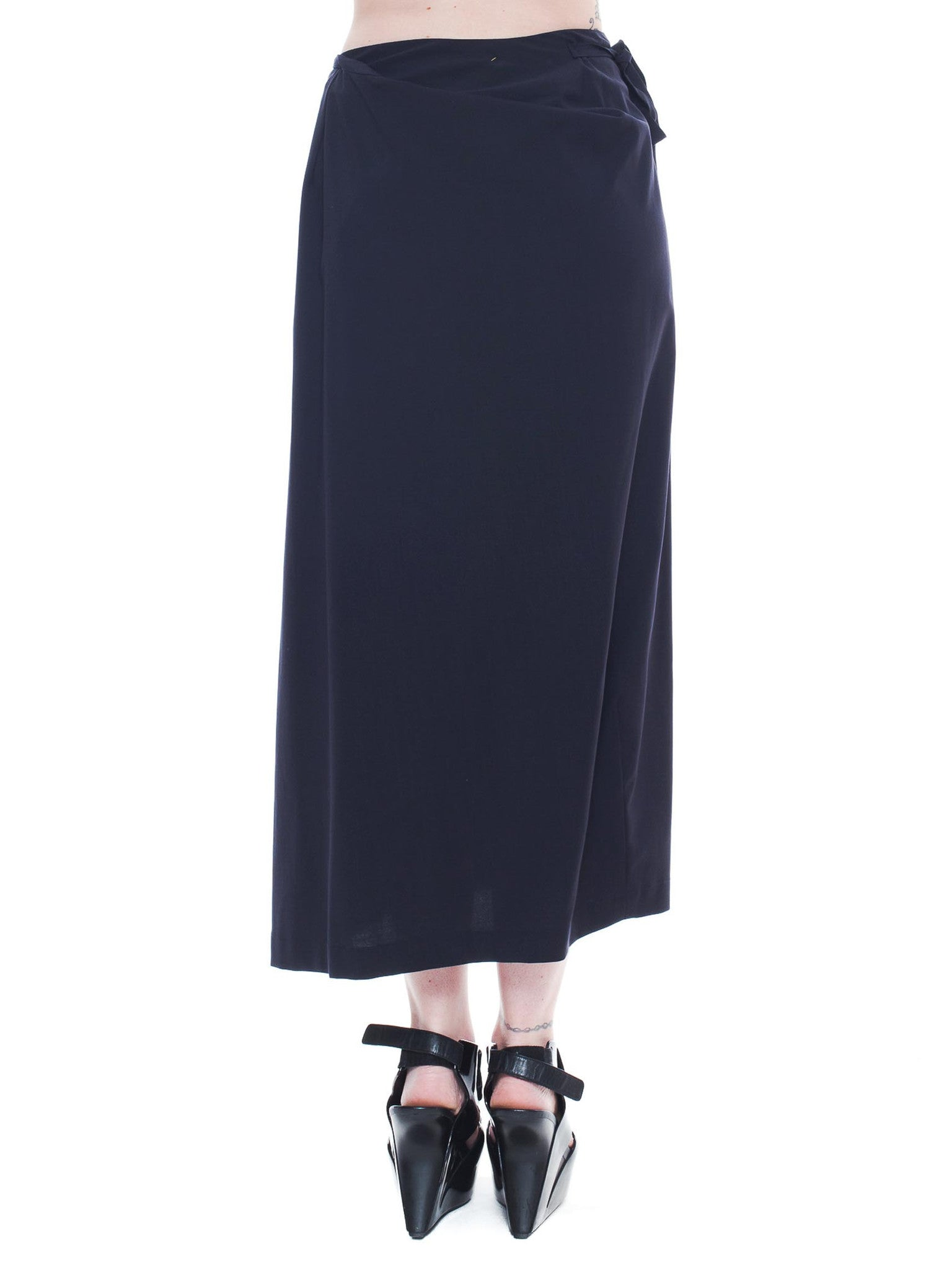 1980S COMME DES GARCONS Navy Wool Deconstructed Wrap Skirt