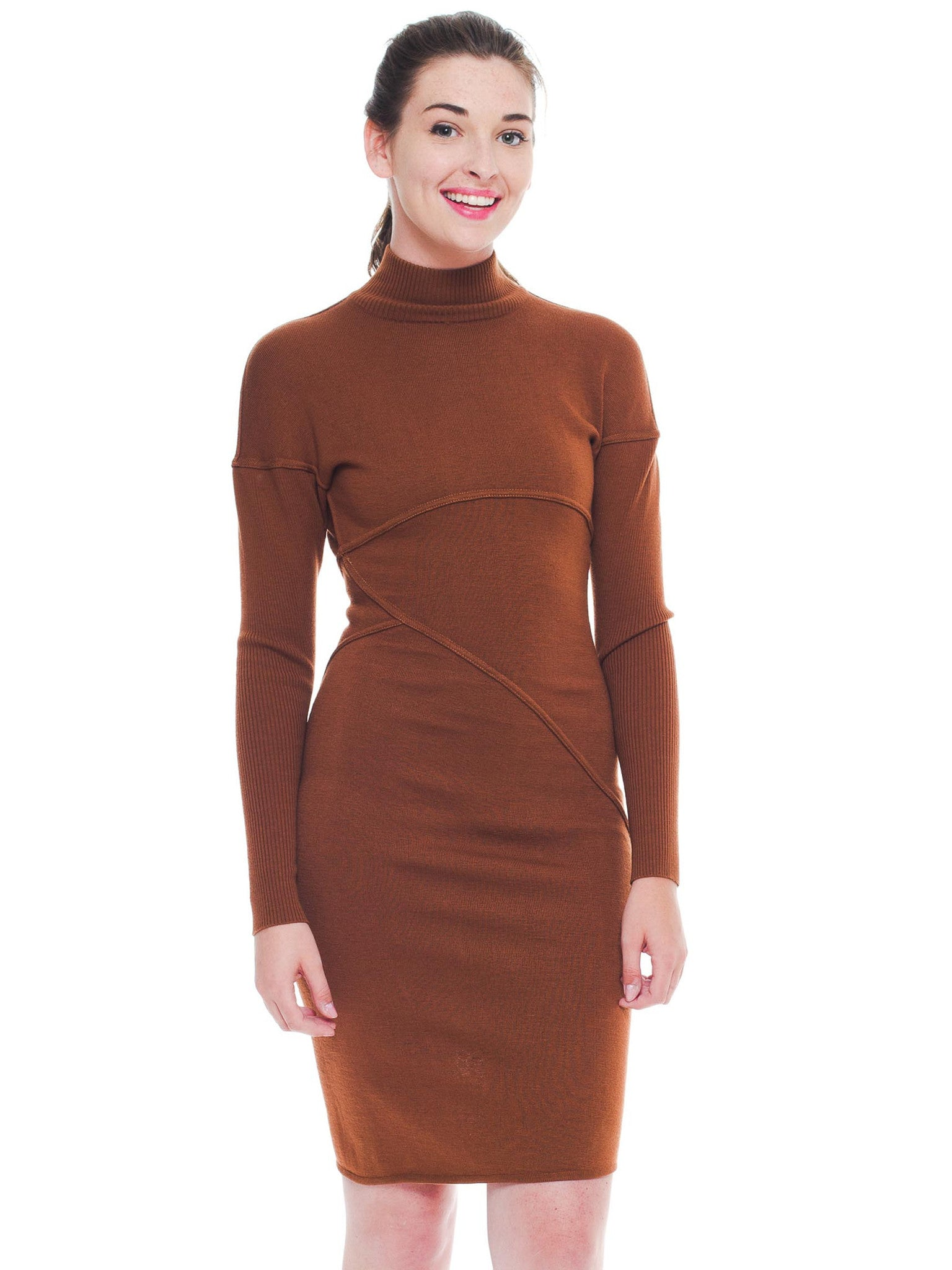 1980S AZZEDINE ALAIA Cinnamon Brown Wool Knit Turtleneck Body-Con Dress With Diagonal Seaming