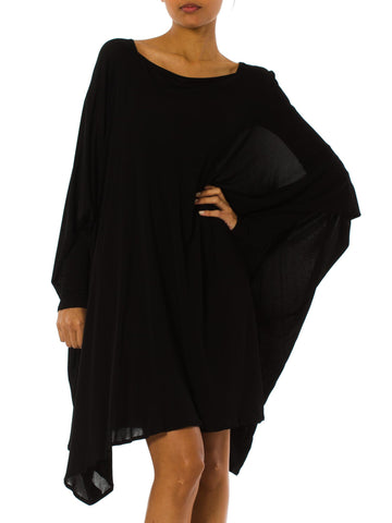 1980s Minimalist Extra Long Sleeve Oversized Black Tunic Dress