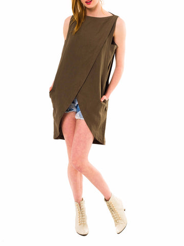 1980S Byblos Olive Green Linen Hi Lo Top With Pockets