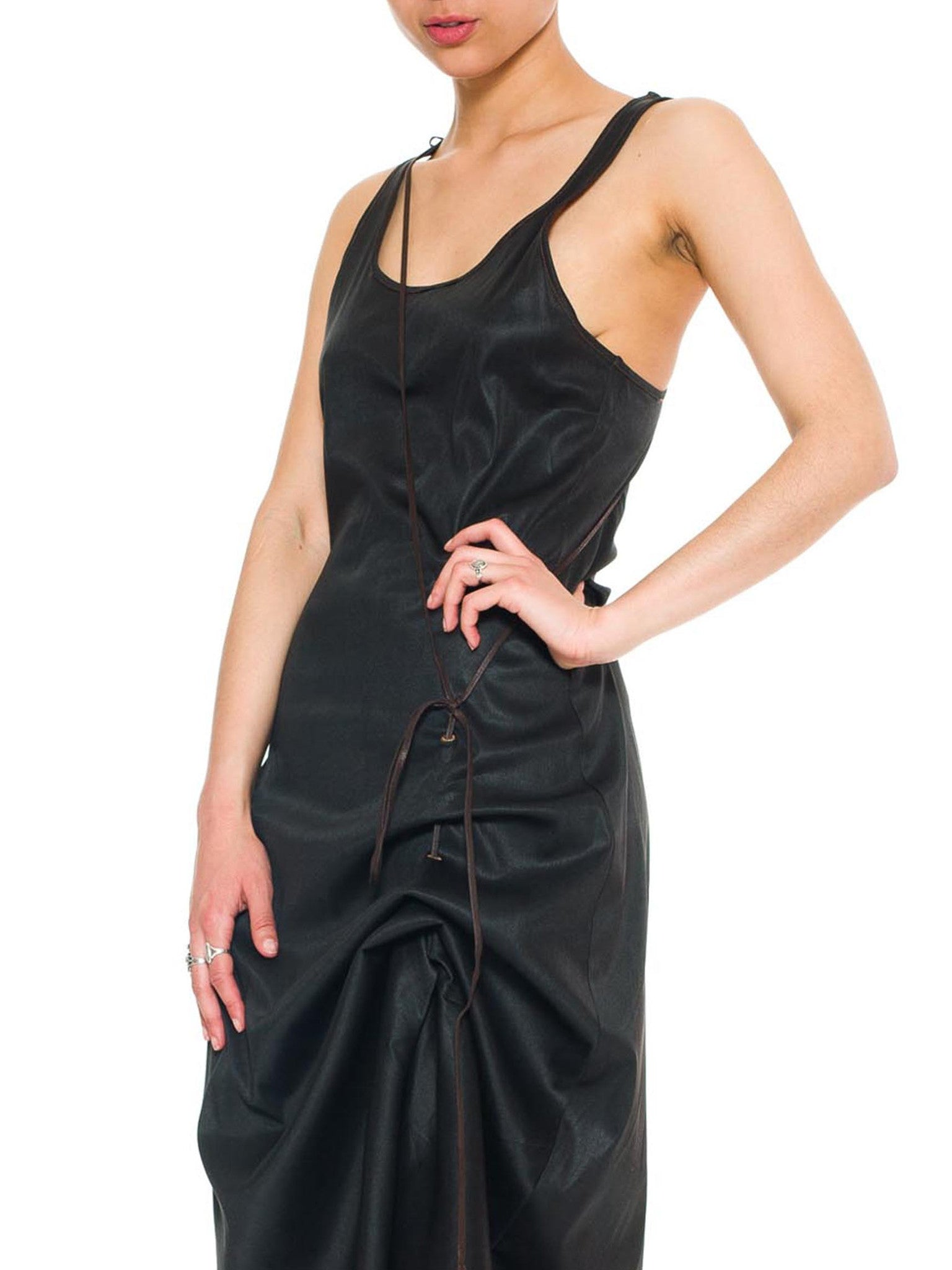 Jean Paul Gaultier Racer-Back Silky Black Dress With Leather Cord Det