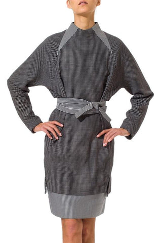 1980S Geoffrey Beene Black & White Wool Silk Contrast Pattern Raglan Sleeve Top Skirt Ensemble With Belt