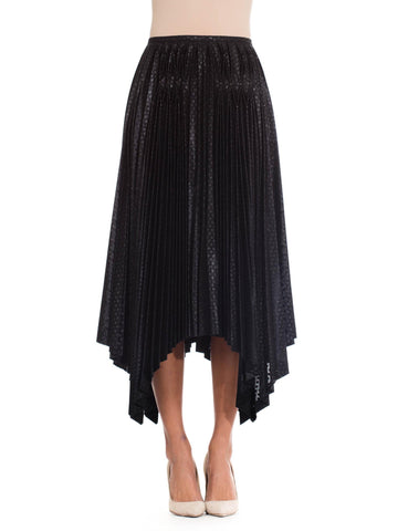 1990S Issey Miyake Black Metallic Polyester Pleated Skirt