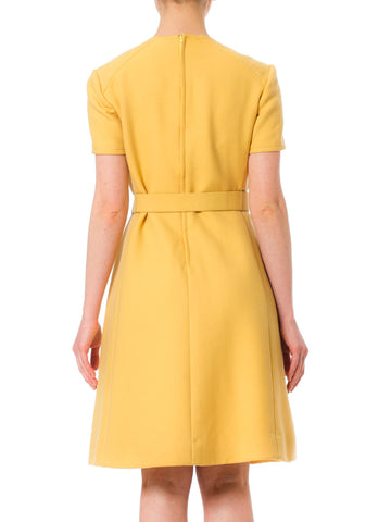 1960S Andre By Courreges Yellow Wool Mod  Dress With Belt
