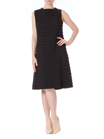 1960s MOD Black Textured Sleeveless Dress