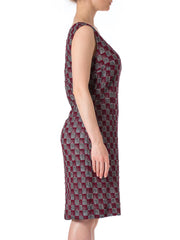 1960s MOD Metallic Lace Knit technic Silver Burgundy Sleeveless Dress