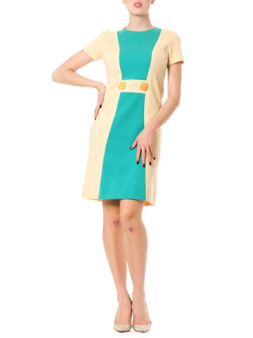 Mod 1960's Vintage Butte Knit Cream Dress with Turquoise Color Block Design