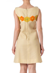 1960s MOD Floral Embroidery Wool Sleeveless dress