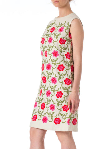 1960s MOD Flowers Embroidered Linen Sleeveless Dress