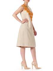 1960s MOD Daisy Embroidered Linen Sleeveless dress