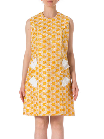 1960s MOD Embroidered Yellow Sleeveless Dress