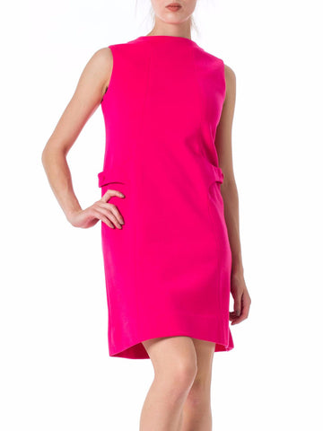 1960s MOD Bright Pink Sleeveless Wool Dress