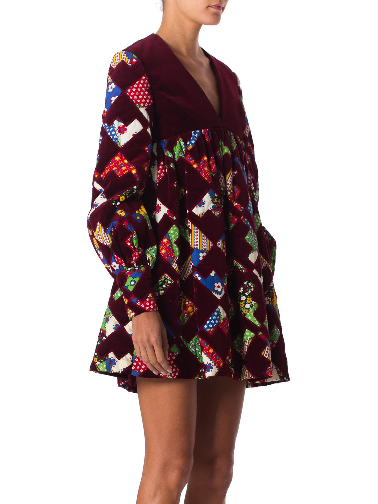 1960S GAYLE KIRKPATRICK Cotton Velvet Patchwork Mini Dress With Sleeves