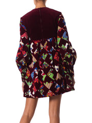 1960s Gayle Kirkpatrick Velvet Patchwork Dress