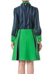 1960s Réty Haute Couture Mod Green Polka Dot Silk and Wool Dress