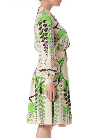 1960S Donald Brooks Silk Botanical Placed Print Dress
