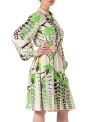 1960s Donald Brooks Floral Printed Silk Belted Dress