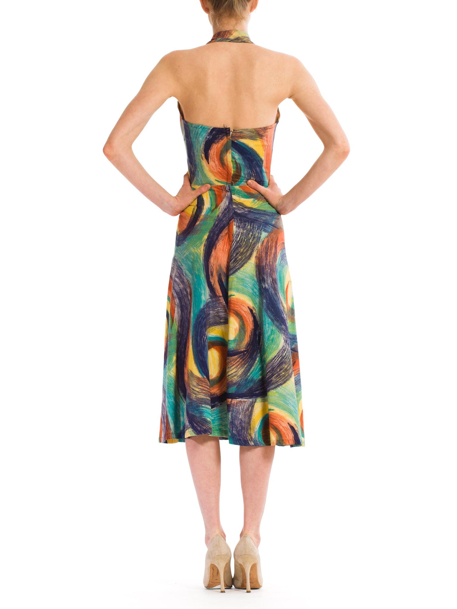 1950S Multicolor Hand Painted Cotton Backless Halter Circle Skirt Dress