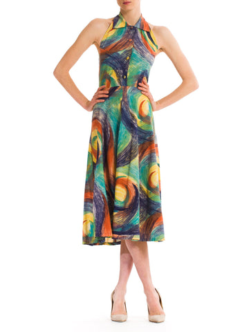 1950s Halter Circle Skirt Tropical Dress