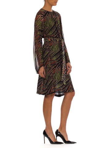 1970S Abstract Tropical Silk Chiffon Bias Long Sleeve Dress With French Seam Finishing