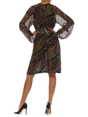 1960s Tribal Printed Silk Chiffon Long Sleeve Midi Dress