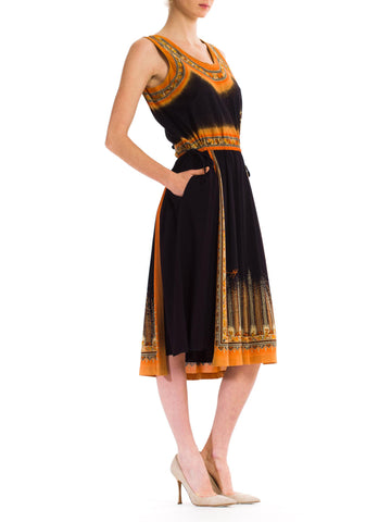 1970S Art Deco Acetate Jersey Dress Made In Italy