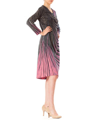 1960s Abstract Swirl Stripes Grey Pink Long Sleeve Midi Dress