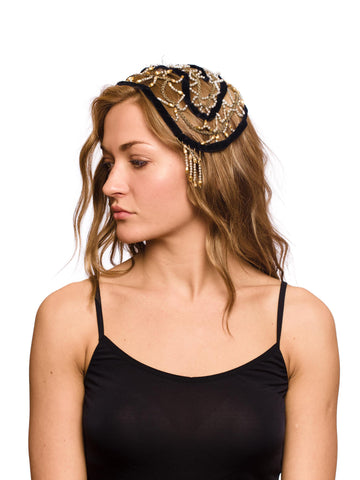 1920S Black & Gold Silk Velvet Ribbon Pearls Headpiece
