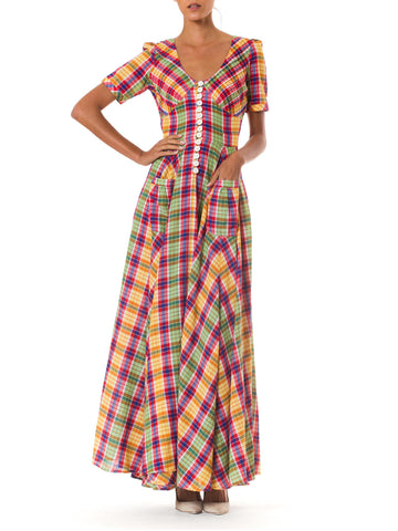 1940S Style 1970S Plaid Dress
