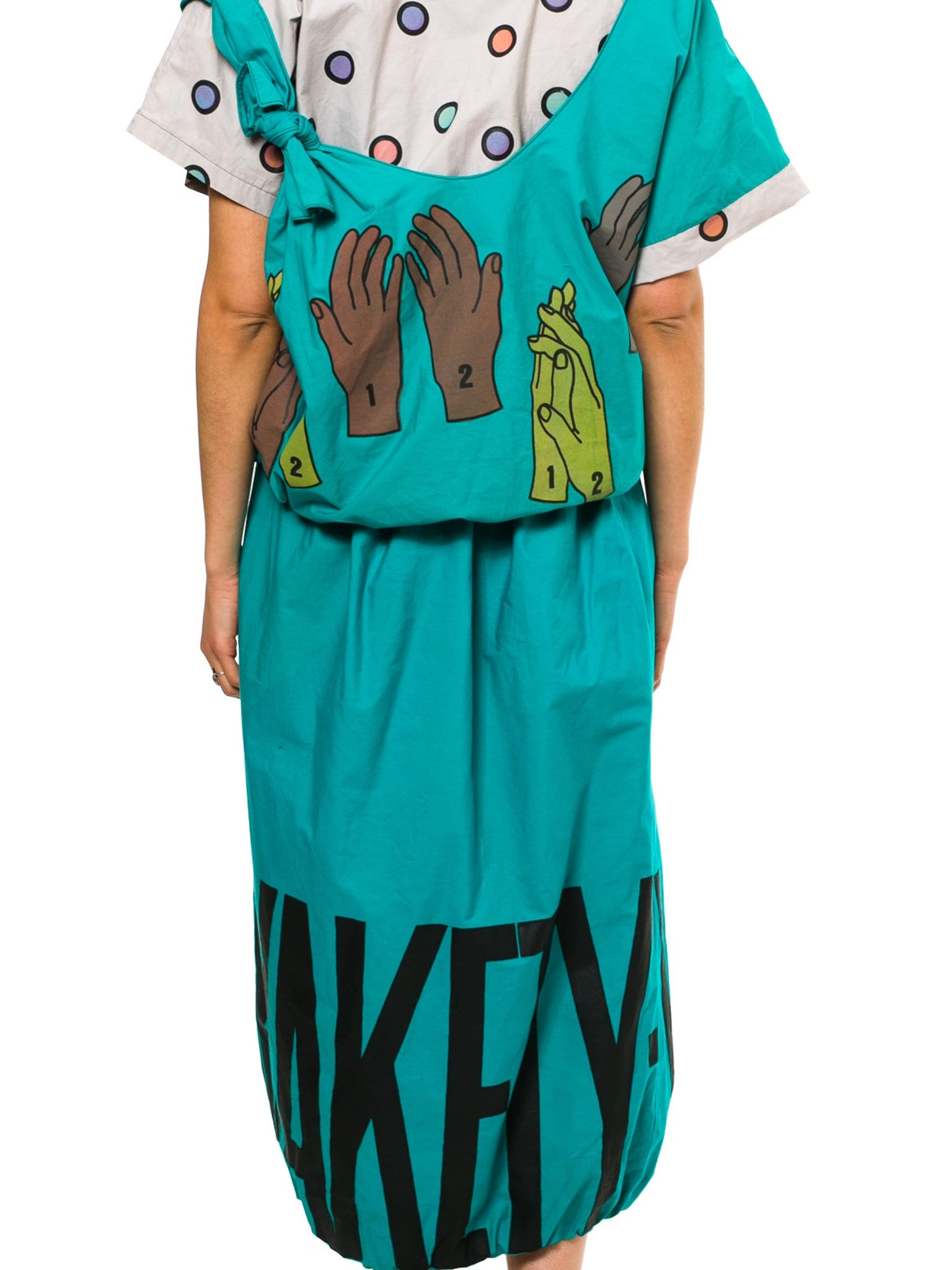 "1980S Teal Cotton ""Clap Your Hands Say Yakety-Yak!!"" Shirt & Skirt Ensemble"