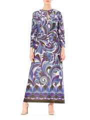 1960s Pucci Style Psychedelic Graphic Print with Sparkling Metallic Thread Maxi Dress