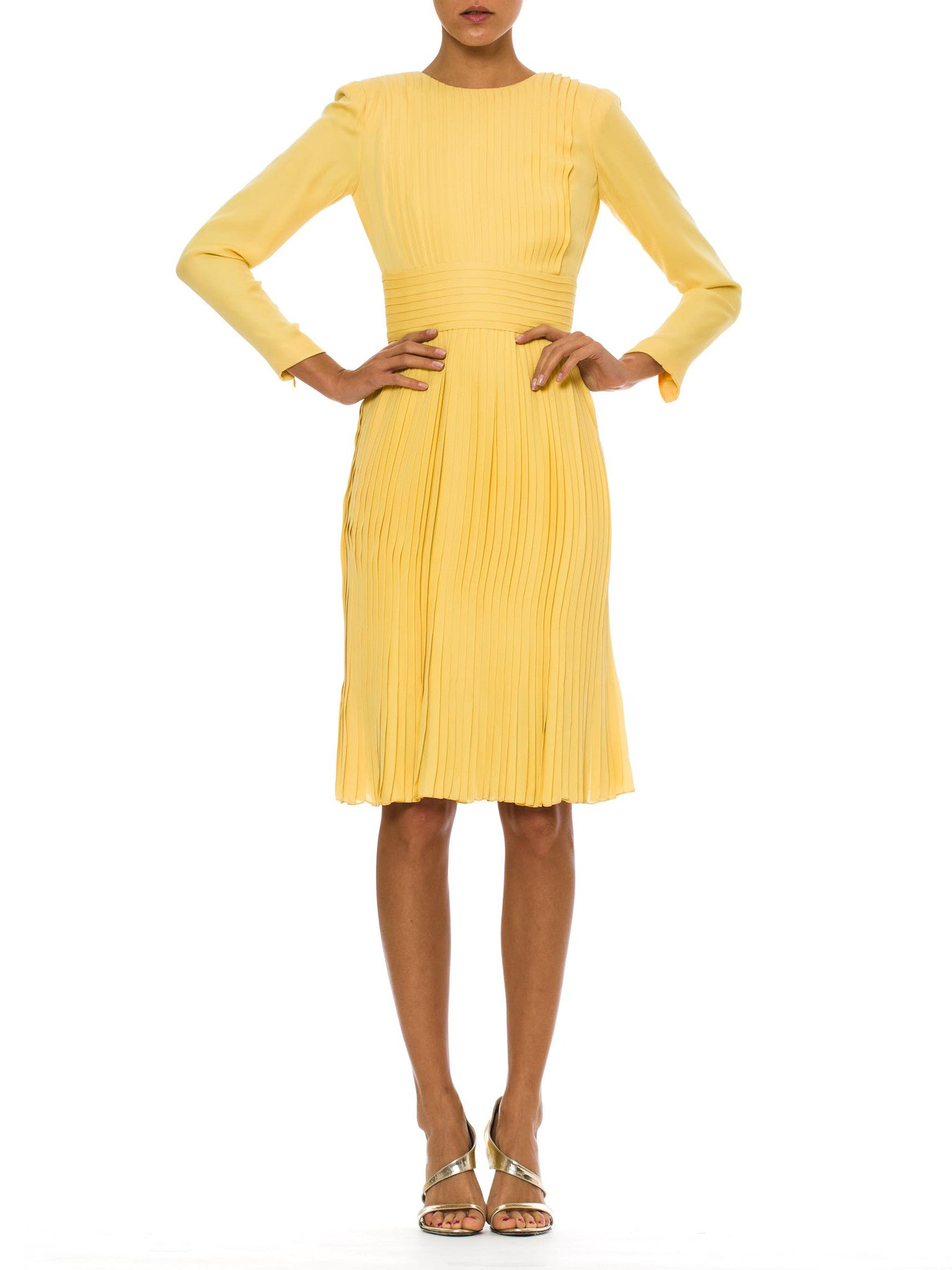 1970s Vintage Pale Yellow Pleated Silk Dress by JAMES GALANOS – MORPHEW