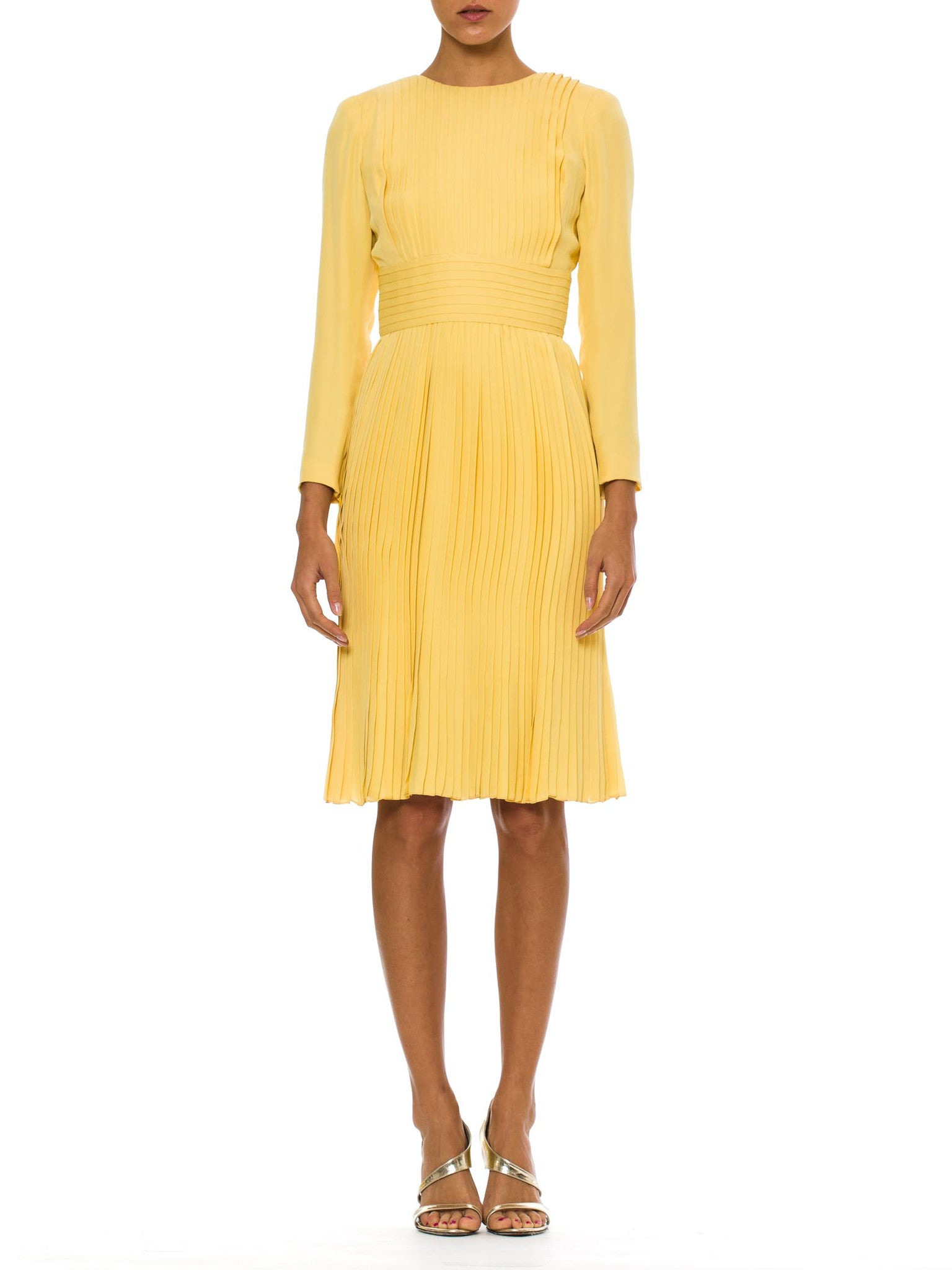 1970s Vintage Pale Yellow Pleated Silk Dress by JAMES GALANOS