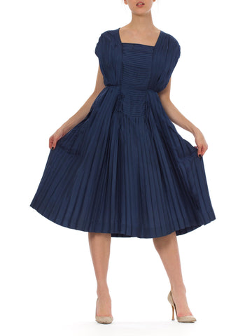 1950s Blue Sleeveless Pleated Silk Midi Dress