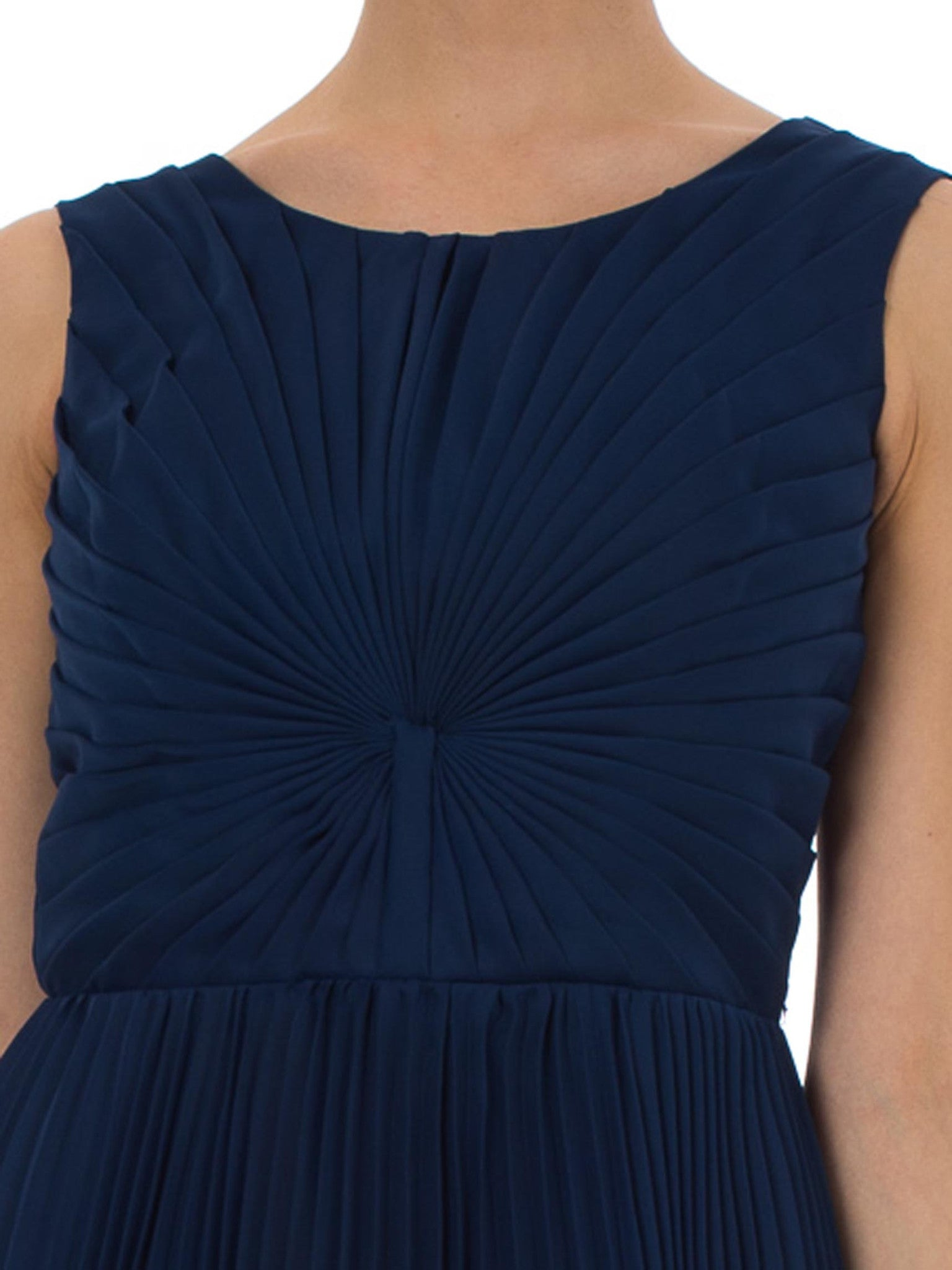 1960S Sapphire Blue  Polyester Chiffon Pleated Fan Bodice Cocktail Dress Made In France