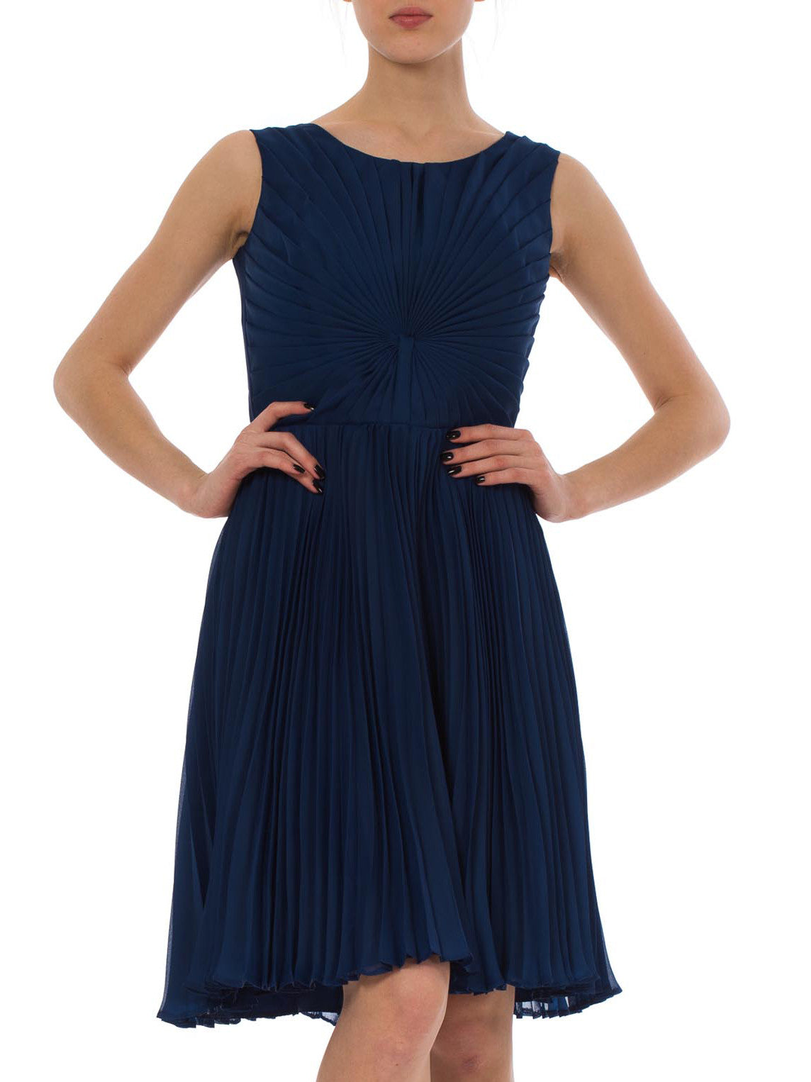 1950s Blue Chiffon Pleated Sleeveless Midi Evening Dress