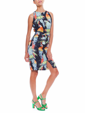 1960S Donald Brooks Printed Tropical Silk Parot Dress