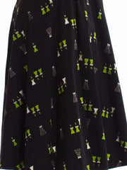 1950S Black & Green Printed Castles Cotton Day Dress