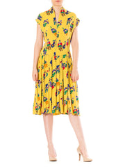 1940s Novelty Clown Print Short Sleeve Midi Pleated Dress