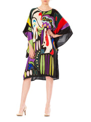 1970s Abstract Chinese Psychedelic Mask Face Print Silk Kimono Dress