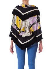 1970s Michael Novarese Silk Fringed Butterfly Jacket