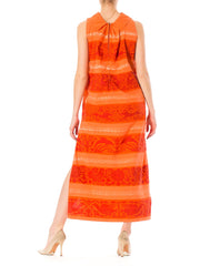 1960s Novelty Animal Print Coral  Sleveless Maxi Dress