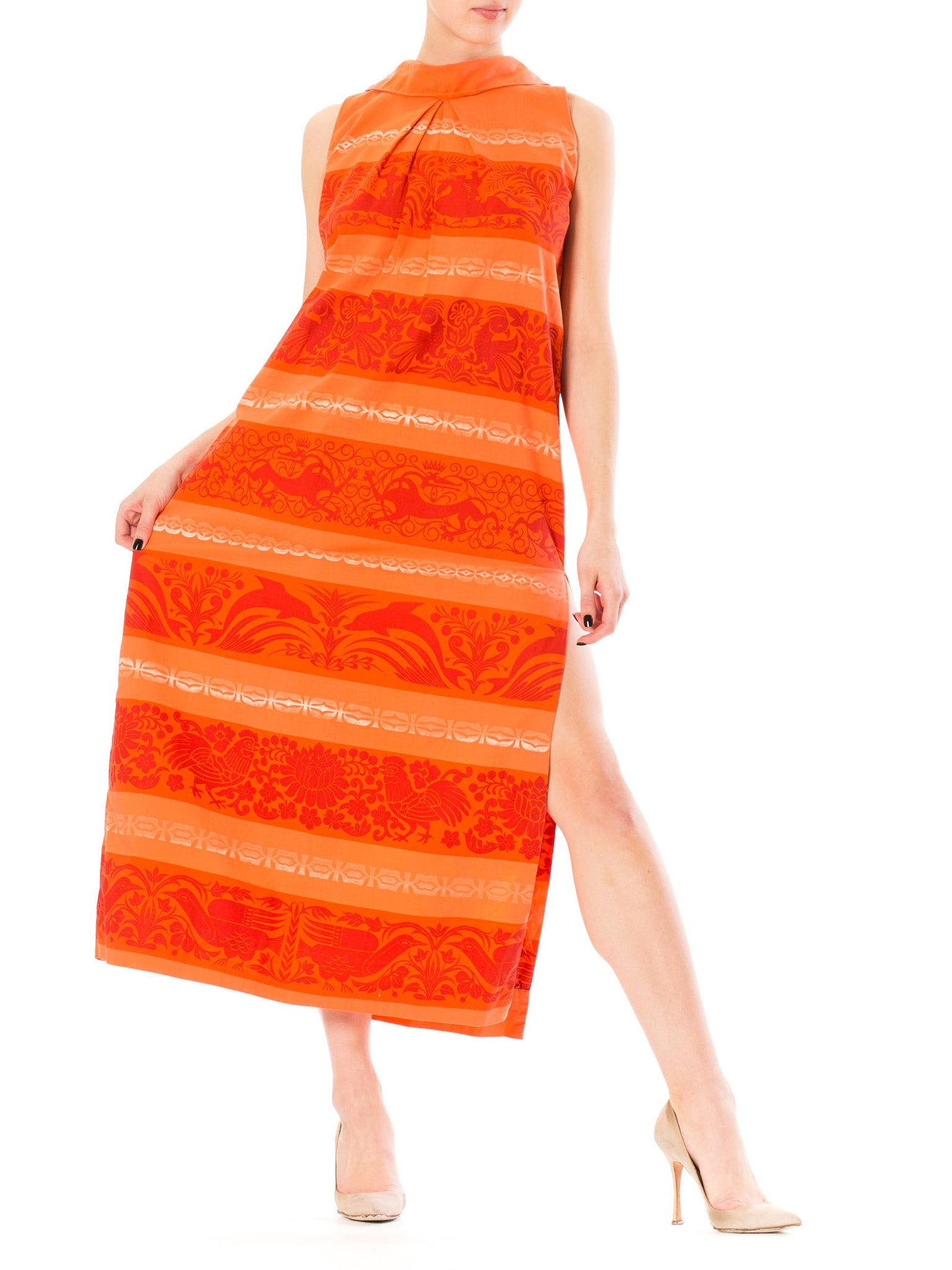 1960S Coral Cotton Tiki Print Maxi Dress With Side Slit From St. Lucia