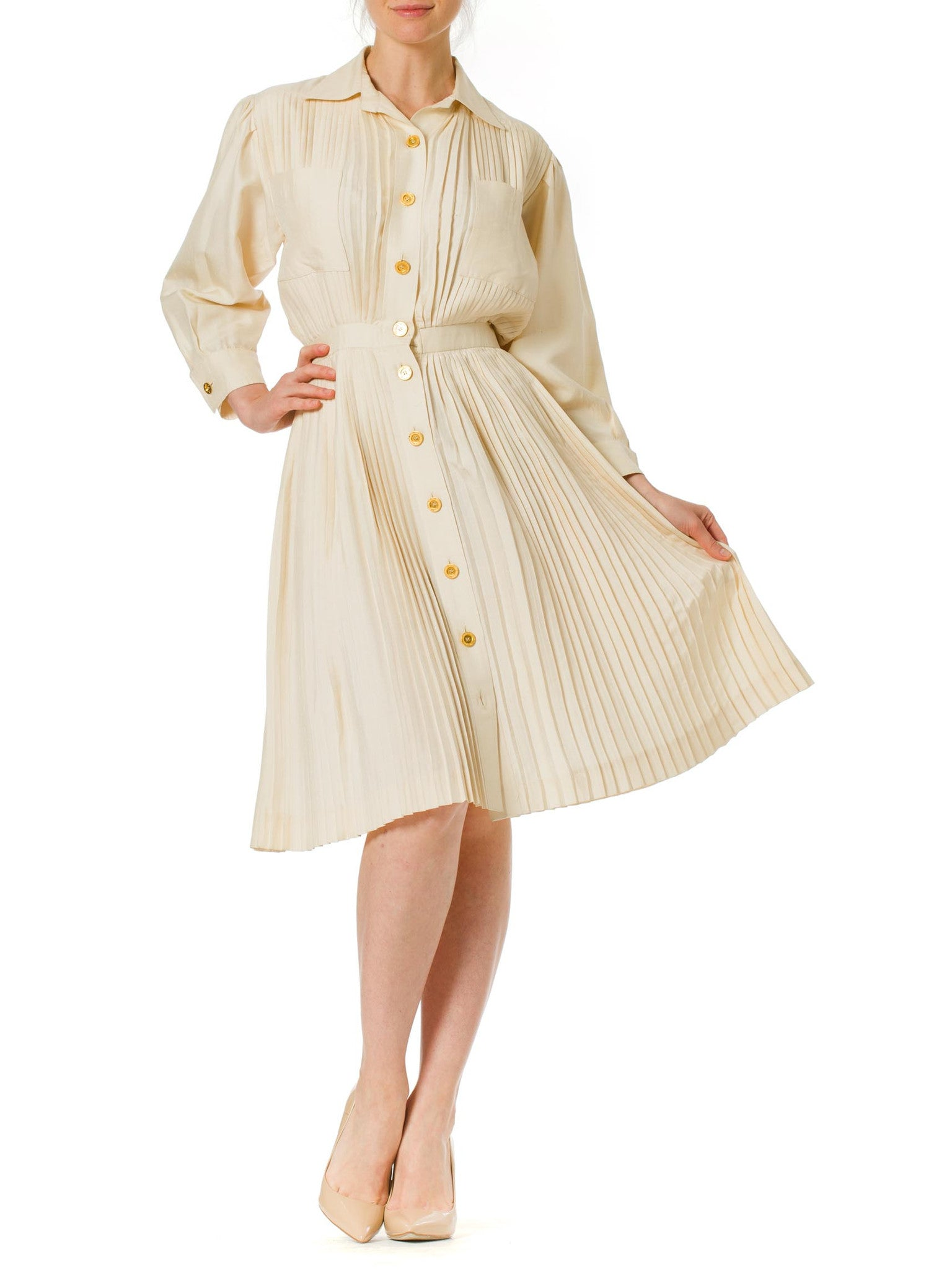 Vintage 1970's Nina Ricci Pleated Ivory Dress