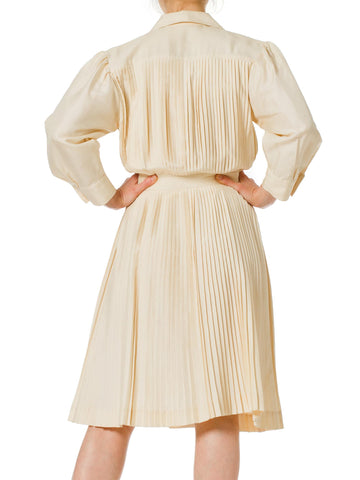 1970S NINA RICCI Ivory Silk Pleated Long Sleeve Shirt Dress