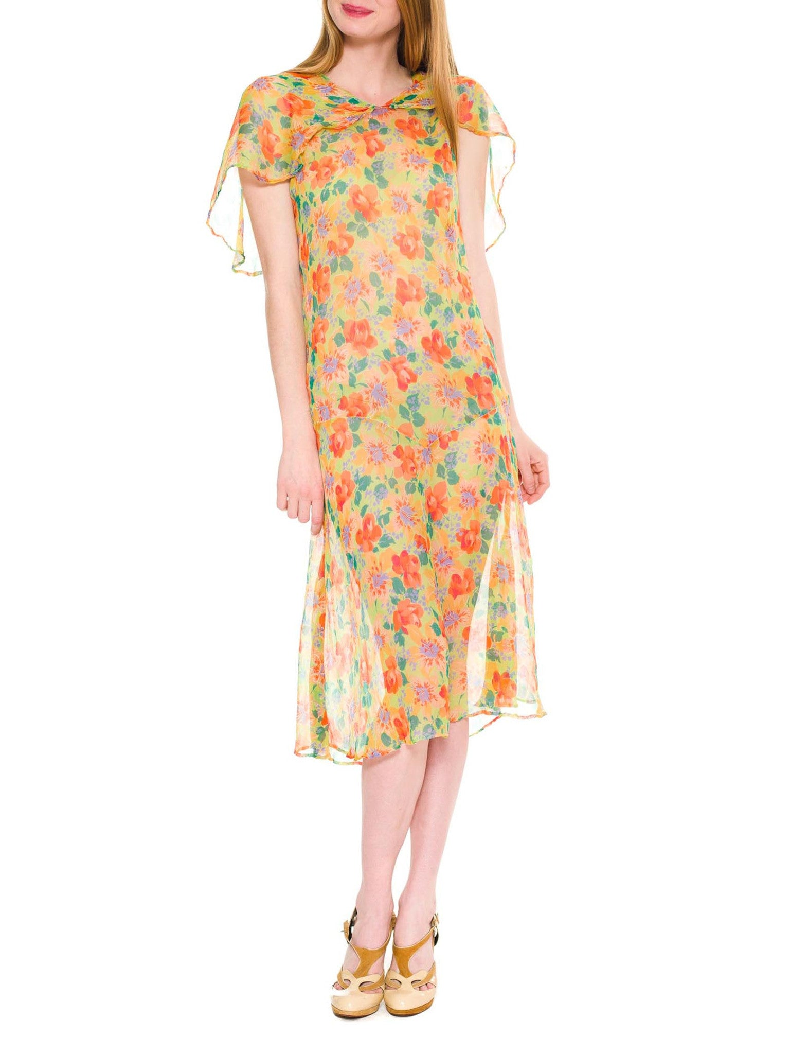 1920S Lime Green & Orange Floral Silk Mousseline Light As A Feather Drop Waist Garden Party Dress