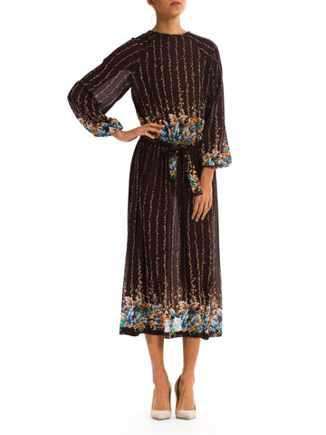 Relaxed Vintage1970s Floral Print Sheer Brown Silk Chiffon Dress