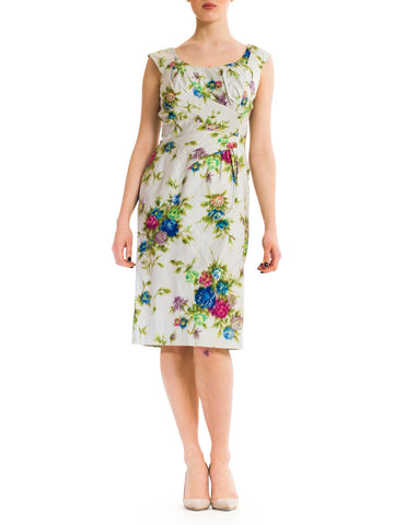 1950S Multicolor Floral Cotton Sateen Draped For Curves Dress